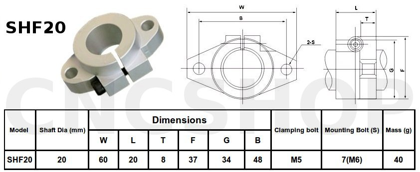 SHF20 20mm FLANGE MOUNT SHAFT SUPPORT